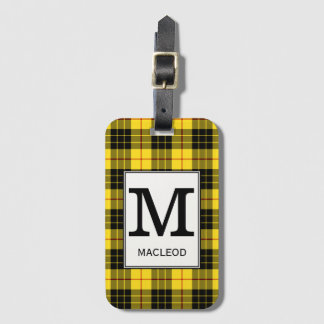 Etiqueta De Bagagem Tartan de MacLeod do clã Monogrammed