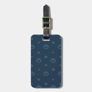 Etiqueta De Bagagem Teste padrão azul do monstro do biscoito e do