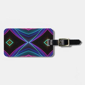 Etiqueta De Bagagem Teste padrão colorido fluorescente de néon Funky