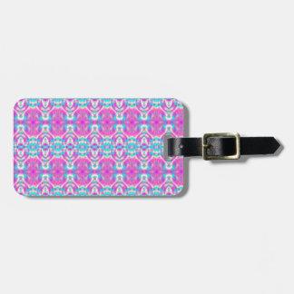 Etiqueta De Bagagem Teste padrão cor-de-rosa e azul personalizado