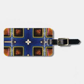 Etiqueta De Bagagem Teste padrão geométrico azul masculino anca