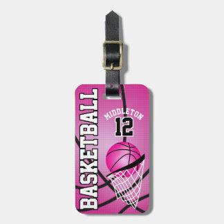 Etiqueta De Bagagem Texto cor-de-rosa desportivo do basquetebol | DIY