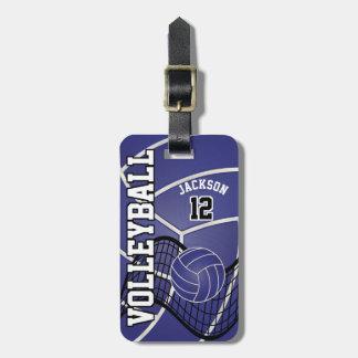 Etiqueta De Bagagem Texto do voleibol | DIY do esporte - azul escuro