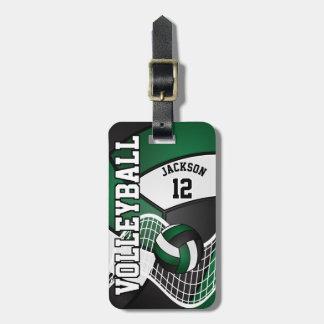 Etiqueta De Bagagem Texto do voleibol | DIY do esporte - verde escuro