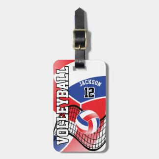 Etiqueta De Bagagem Texto do voleibol | DIY do esporte - vermelho,