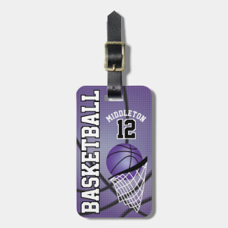 Etiqueta De Bagagem Texto roxo desportivo do basquetebol | DIY