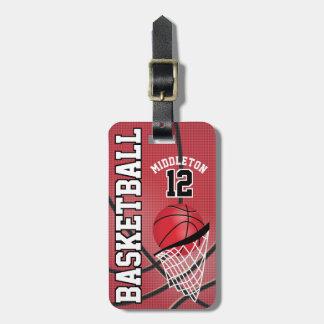 Etiqueta De Bagagem Texto vermelho desportivo do basquetebol | DIY