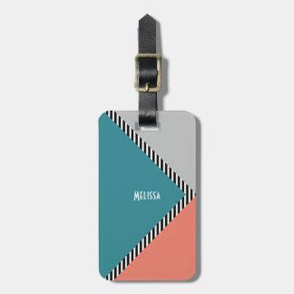 Etiqueta De Bagagem Triângulo & listras modernos do bloco da cor