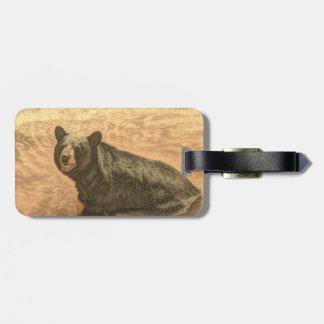 Etiqueta De Bagagem urso preto dos animais selvagens do rio da região