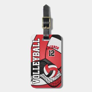 Etiqueta De Bagagem Voleibol | do esporte vermelho, branco e preto
