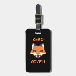 Etiqueta De Bagagem Zero desenhos animados dados Fox na moda de Emoji