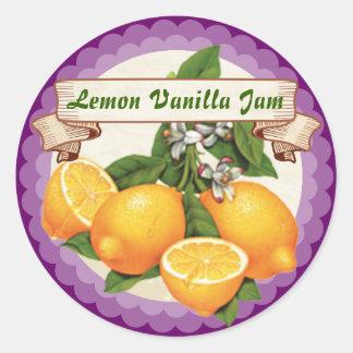 Etiqueta de colocação em latas da fruta feita sob adesivos em formato redondos