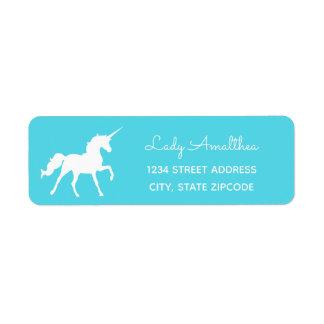 Etiqueta de endereço azul do unicórnio