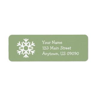 Etiqueta de endereço C do floco de neve (verde