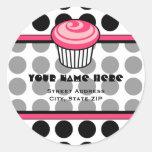 Etiqueta de endereço cor-de-rosa do cupcake - adesivos em formato redondos