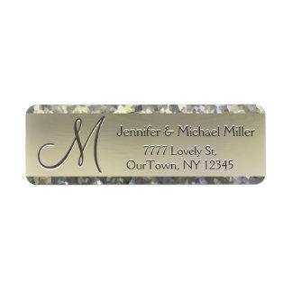 Etiqueta de endereço do brilho do Shimmer do ouro Etiqueta Endereço De Retorno