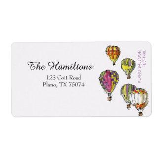 Etiqueta de endereço do festival do balão de Plano