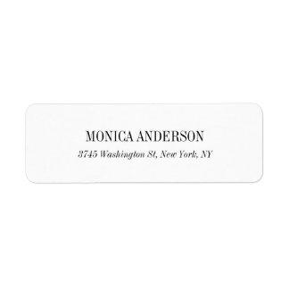 Etiqueta de endereço do remetente branca simples