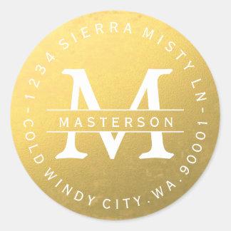 Etiqueta de endereço do remetente circular do ouro