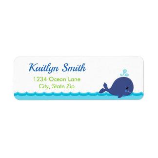 Etiqueta de endereço do remetente da baleia