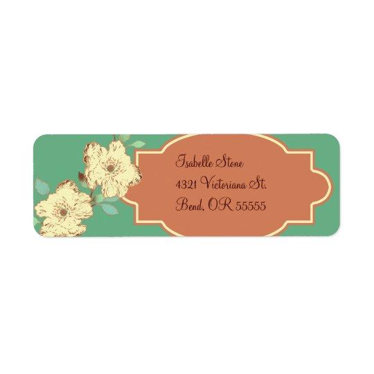 Etiqueta de endereço do remetente floral do Victor