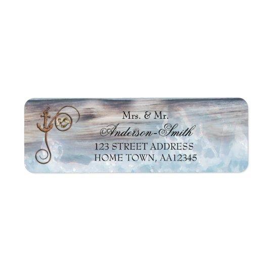 Etiqueta de endereço do remetente náutica rústica