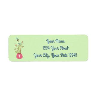 Etiqueta de endereço do vaso de flor