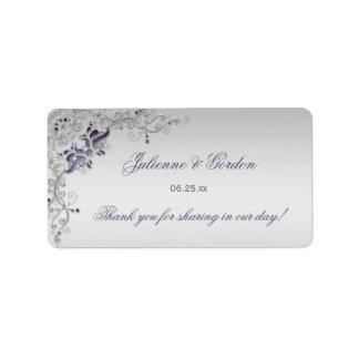Etiqueta de endereço floral de prata roxa