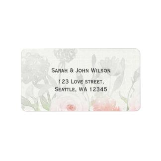 Etiqueta de endereço floral moderna do casamento