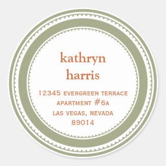 Etiqueta de endereço moderna do círculo do adesivo