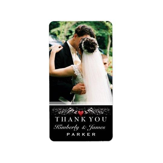 Etiqueta De Endereço Obrigado vermelho preto & branco do casamento do