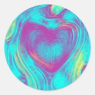 Etiqueta de flutuação do coração adesivos em formato redondos