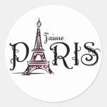 Etiqueta de J'aime Paris Adesivos Em Formato Redondos