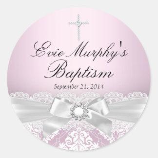 Etiqueta de prata cor-de-rosa bonito do damasco &