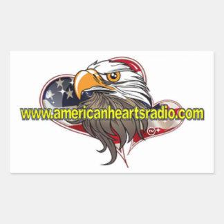 Etiqueta de rádio dos corações americanos adesivo retangular