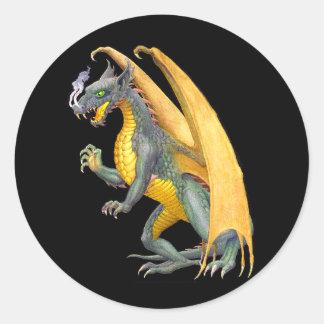 Etiqueta de respiração do dragão do fogo adesivo