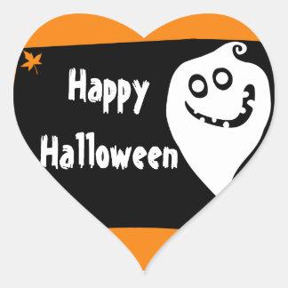 Etiqueta de sorriso do Dia das Bruxas do fantasma Adesivo Coração