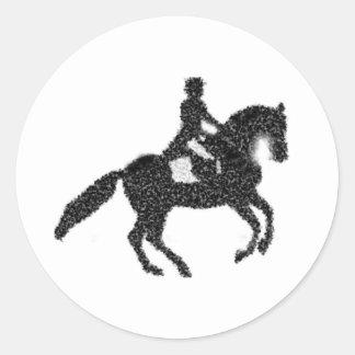 Etiqueta do adestramento - cavalo e cavaleiro do