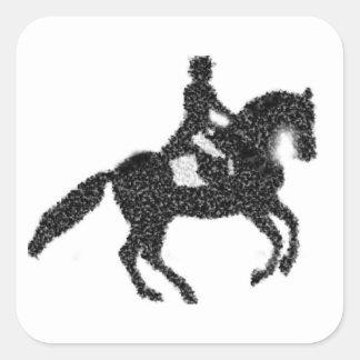 Etiqueta do adestramento com cavalo e cavaleiro do