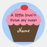 Etiqueta do amor do cupcake adesivos
