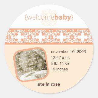 Etiqueta do anúncio do bebê do prazer de Arancione Adesivos Em Formato Redondos