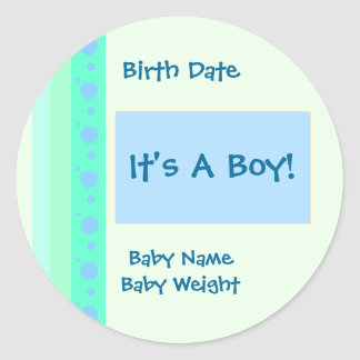 Etiqueta do anúncio do nascimento do menino adesivo