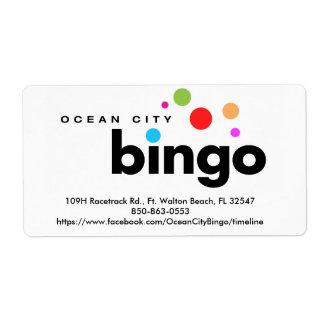 Etiqueta do Bingo da cidade do oceano Etiqueta De Frete