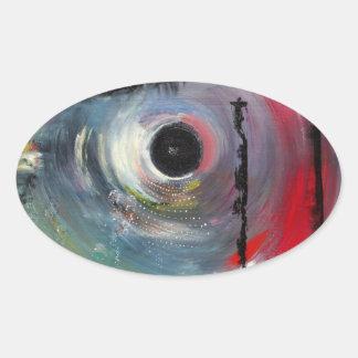 etiqueta do blackhole (scifi do hipster) adesivo oval