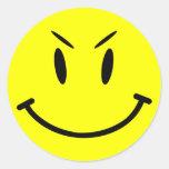 Etiqueta do boné do espaço, smiley face mau, adesivo