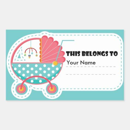 Etiqueta do carrinho de criança de bebê: Isto Adesivo Em Formato Retângular