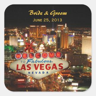 Etiqueta do casamento da tira de Las Vegas Adesivo Quadrado