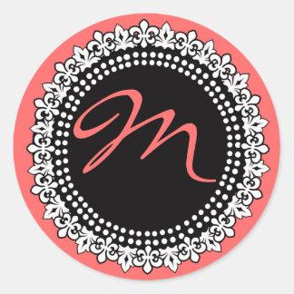 Etiqueta do casamento do monograma da flor de lis adesivo