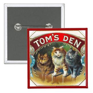 Etiqueta do charuto do vintage do antro de Toms Bóton Quadrado 5.08cm