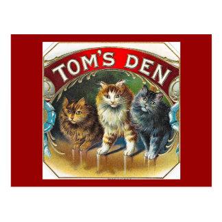 Etiqueta do charuto do vintage do antro de Toms Cartão Postal